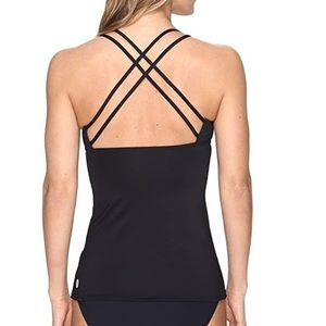 TYR black strappy tankini top